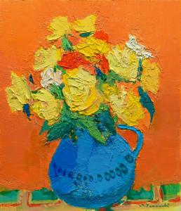 水色の水差しの黄色いバラ F10 油彩 2014年