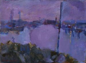 夕暮れの磯津漁港     F4号  油彩  2008年