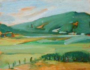 垂坂山   F6     油彩  2008年