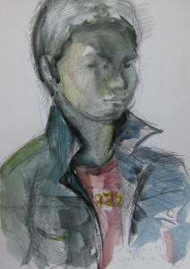 自画像     15号大     水彩     鉛筆     2009
