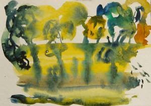 セーヌの畔の灯り  4号大  水彩 2010