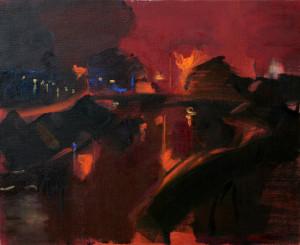 夜の蟹江川     F15号   油彩    2008年