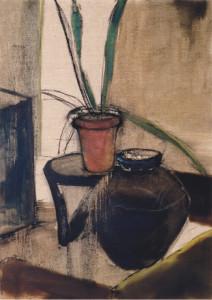 壺と植物のある静物     P30      油彩     2003年
