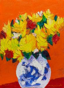 黄色いバラ P8 油彩 2017年
