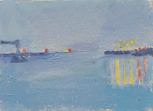 港の朝     F4号     油彩