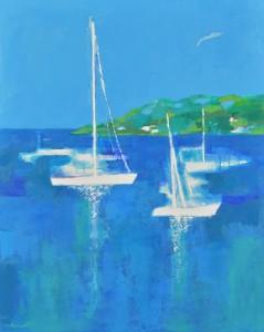 地中海のヨット  F100号  油彩  2019年   改組 新 第6回 日本美術展覧会